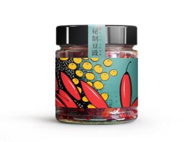 秘制豆豉  贵州特产 插画 手绘 大豆 辣椒 食品 包装