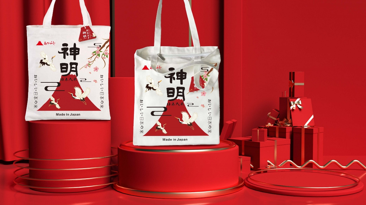日本神明大米包装设计