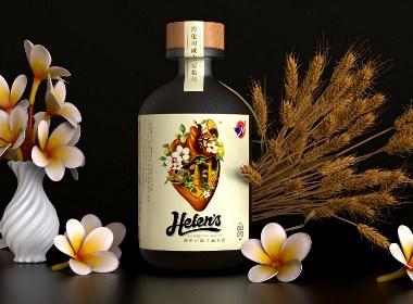 古一设计助力海伦司酒馆 一组年轻时尚的青梅酒威士忌酒标设计包装设计