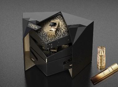 欧莱雅黑钻松露礼盒包装设计