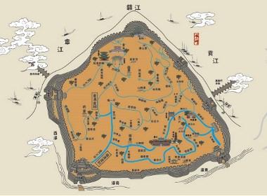 江西省赣州市---江南宋城名胜古迹插画