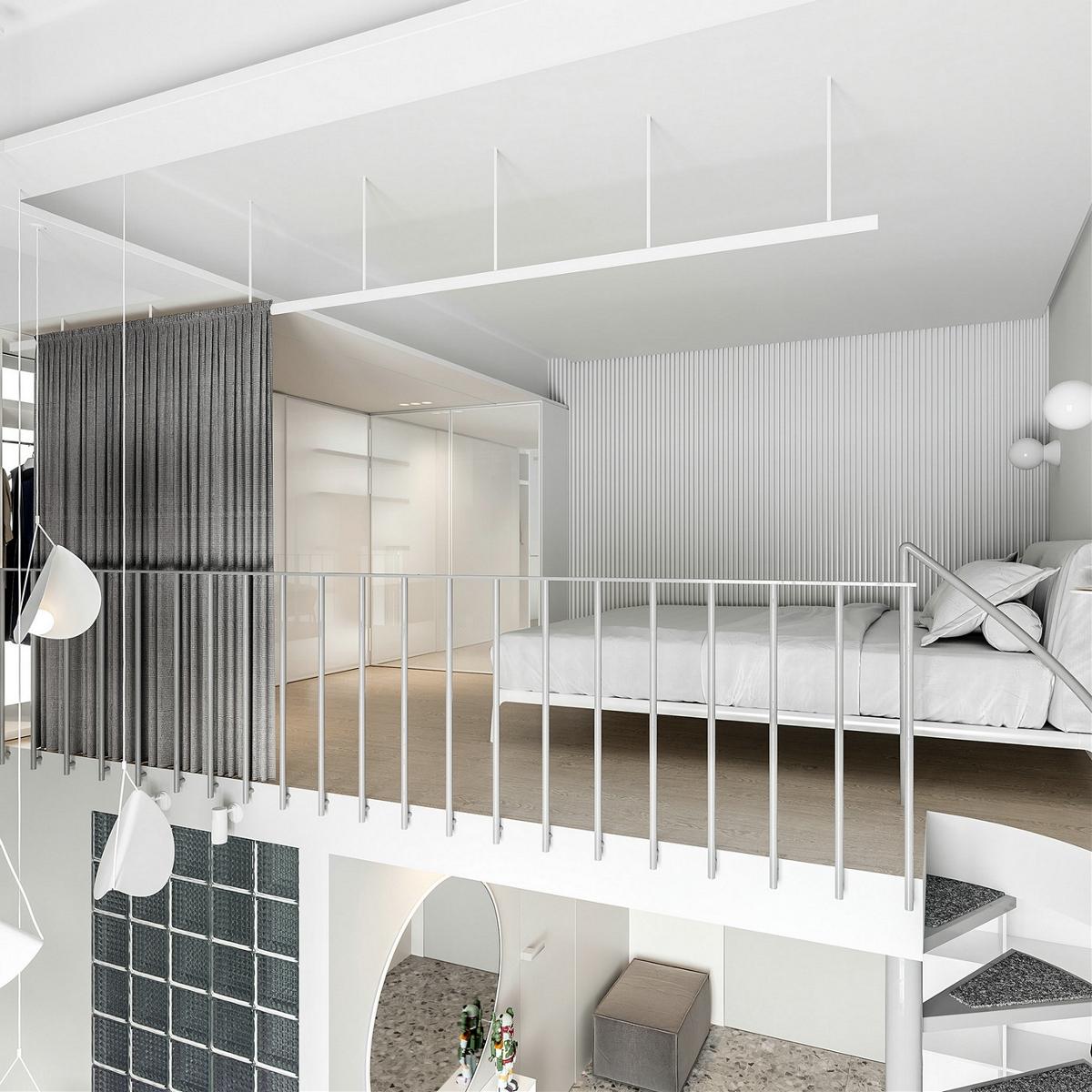 莫斯科极简白loft小公寓
