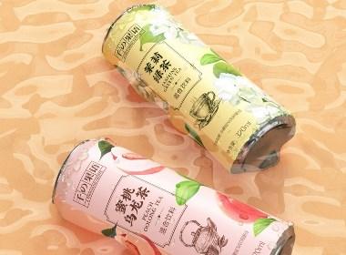 易拉罐包装蜜桃乌龙茶 茉莉绿茶 茶饮料设计©刘益铭 原创作品