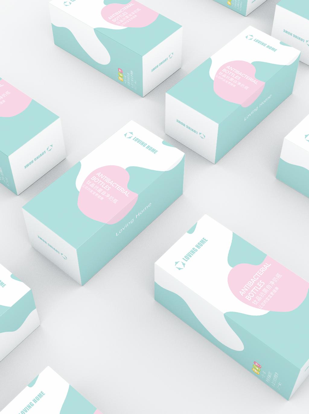 原创母婴抗菌奶瓶包装设计