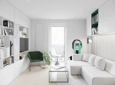 28m²白绿小户型,仿佛会呼吸的空间设计--欧模设计圈