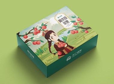 苹果梨子插画包装设计