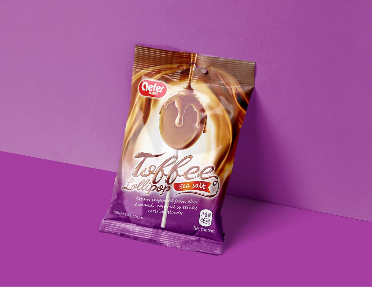 善行研创一莱啡尔进口太妃棒棒糖包装设计