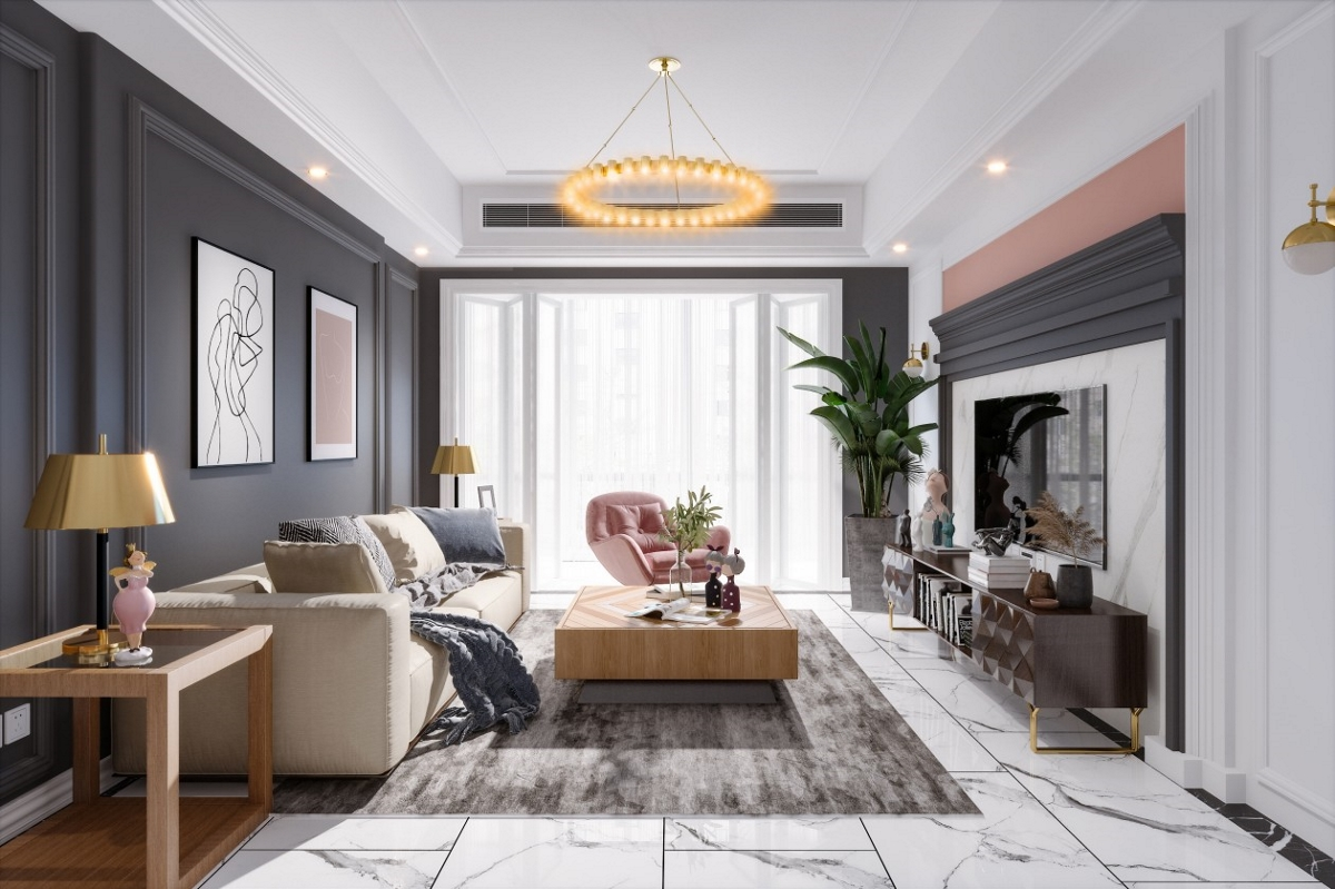 美式现代简约轻奢风格客厅