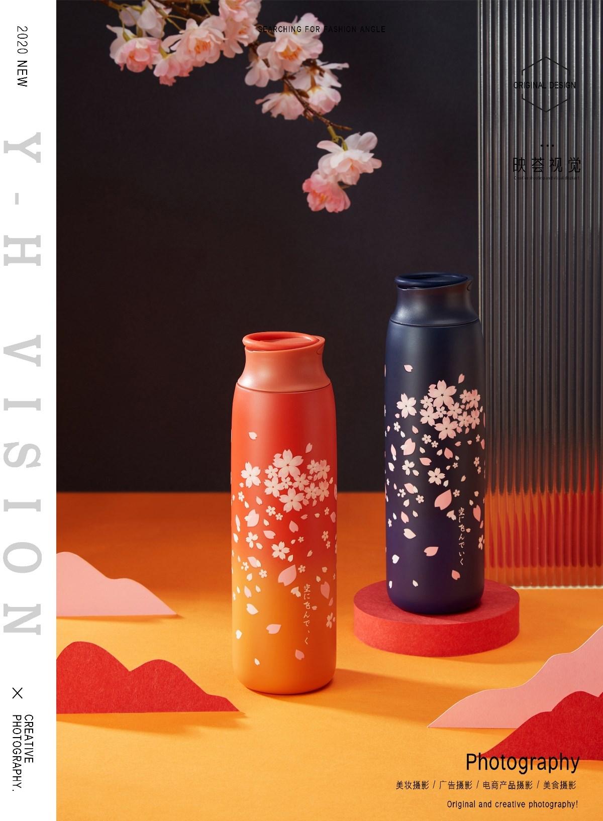 保温杯|日式樱花保温杯产品拍摄