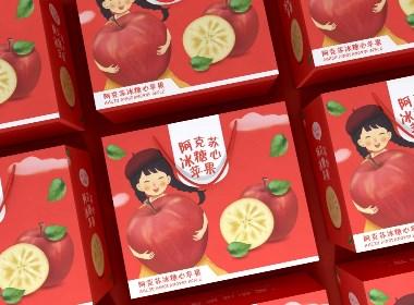 阿克苏冰糖心苹果包装、水果通用包装盒、红色精品礼盒