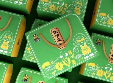 食品大礼包、节日礼盒、简约清新食品包装袋、零食包装
