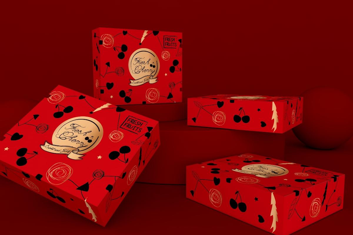 樱桃车厘子包装盒水果通用包装盒超市食品节日礼盒唯美