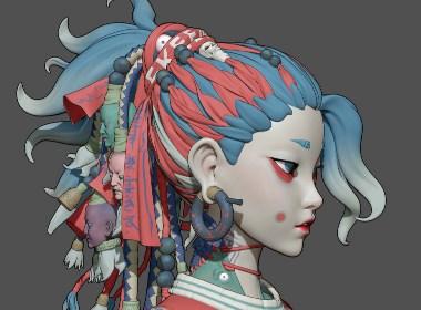 风格化诡异女孩模型设计