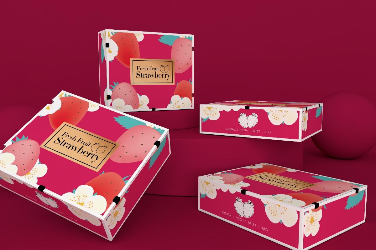 草莓包装盒、水果通用包装盒、超市食品节日礼盒、唯美
