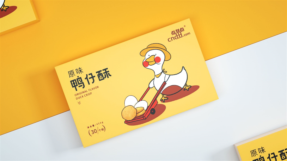 象形字设计|鸭仔酥食品包装插画