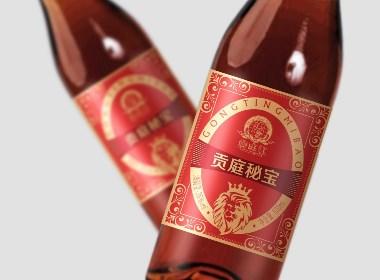 三鞭酒-贡庭秘宝酒标设计