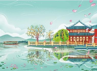 杭州十景中国风插画伴手礼