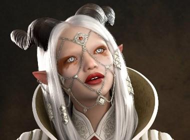 长角的白发女孩画像