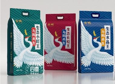 金鹤大米包装袋设计-四喜包装设计