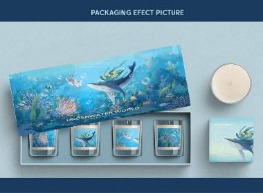 包装插画 香薰化妆品礼盒包装设计(海底世界)