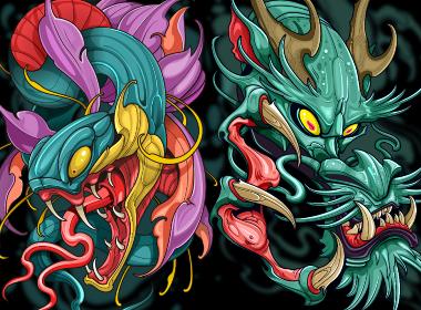 潮流插画--龙与蛇