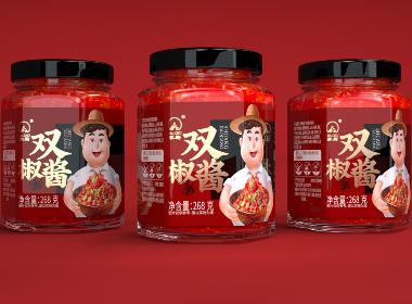 沃爱广告|家厨 —— 双椒酱辣椒酱包装设计