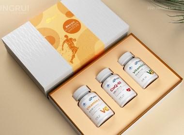保健品礼盒包装设计 维生素C 维生素E辅酶Q10包装设计©刘益铭 原创作品