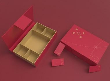 新年节日礼盒、简约高端零食大礼包、食品包装盒、红包