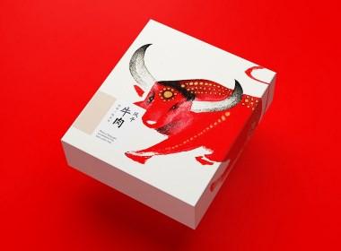 风干牛肉 手撕 插画 手绘 高原 特产 牛年 食品 包装 设计