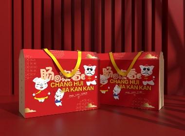 零食通用包装盒、香肠包装、食品包装盒、节日礼盒