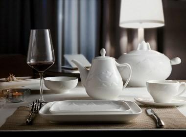 高档白色星级酒店陶瓷餐具拍摄