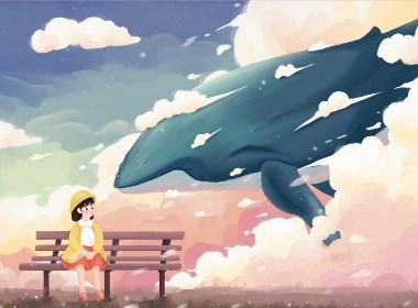 唯美天空云鲸鱼女孩
