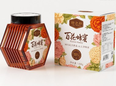 蜂蜜包装设计 百花蜂蜜©刘益铭 原创作品
