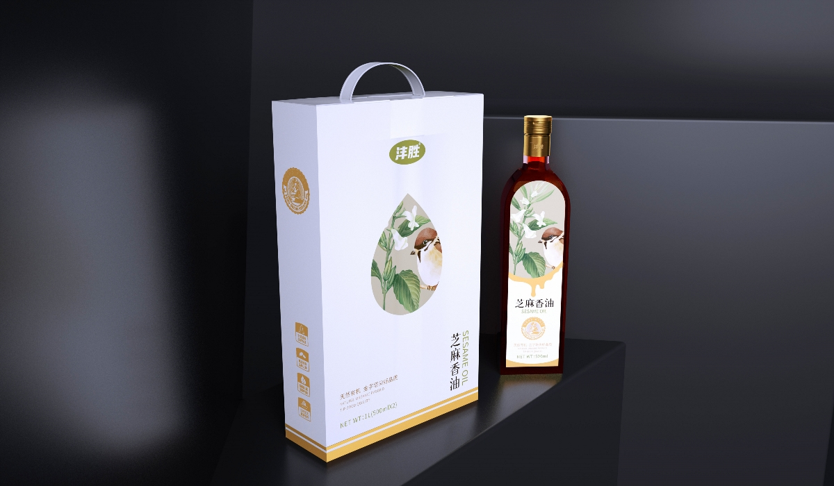 圣智扬作品&食品包装设计 芝麻香油包装设计——天然有机,金字塔式好品质