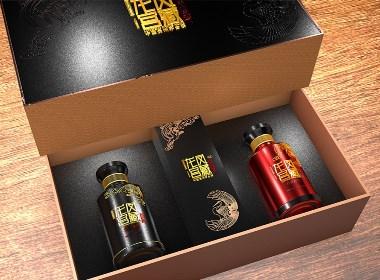 """一套家庭送礼""""龙凤宫藏酒""""双酒整体包装设计-黑森林品牌设计"""