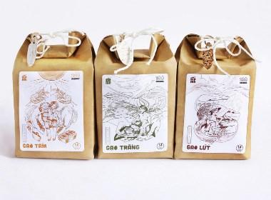 越南画传统有机稻米插画外包装设计
