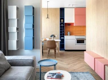 蒙德里安风格:明亮的配色反映了公寓的动态 | NEENDESIGN·尼恩设计
