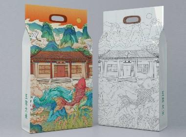 五常大米包装插画
