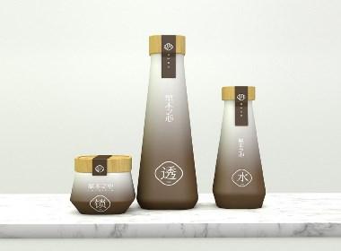 草木之心 一款茶护肤品牌包装设计 极简风格概念瓶型结合茶元素呈现