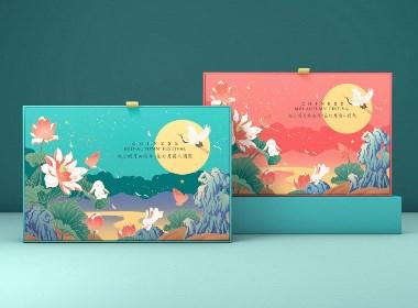 橘貓X中秋禮盒 荷荷美美手繪國潮月餅包裝設計