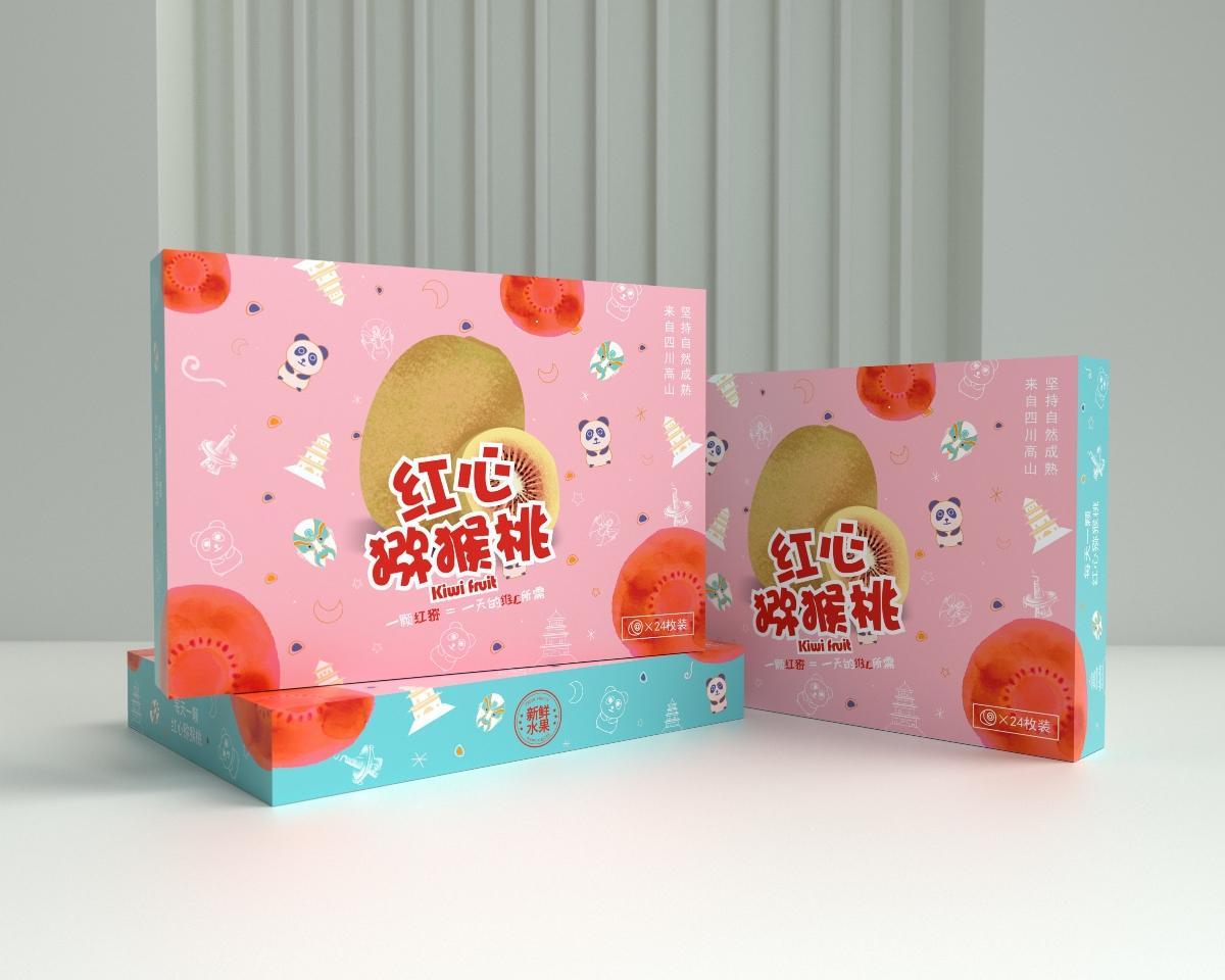 猕猴桃包装盒、清新高端大气水果通用包装、水果包装盒