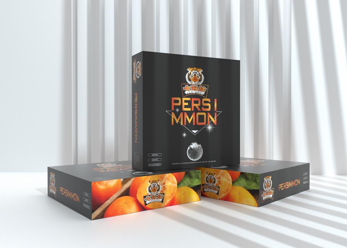太秋柿子包装盒、高端大气水果通用包装、水果包装盒