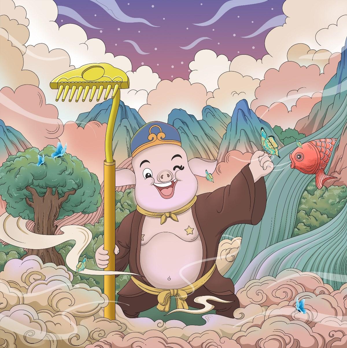 孙悟空与猪八戒插画