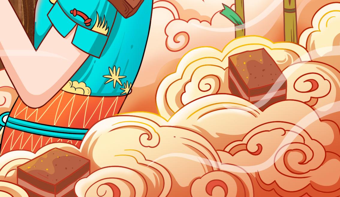古法红糖块包装插画