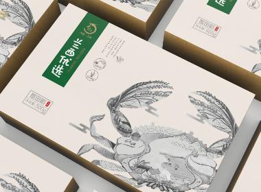 兰西县蟹田稻礼盒包装设计