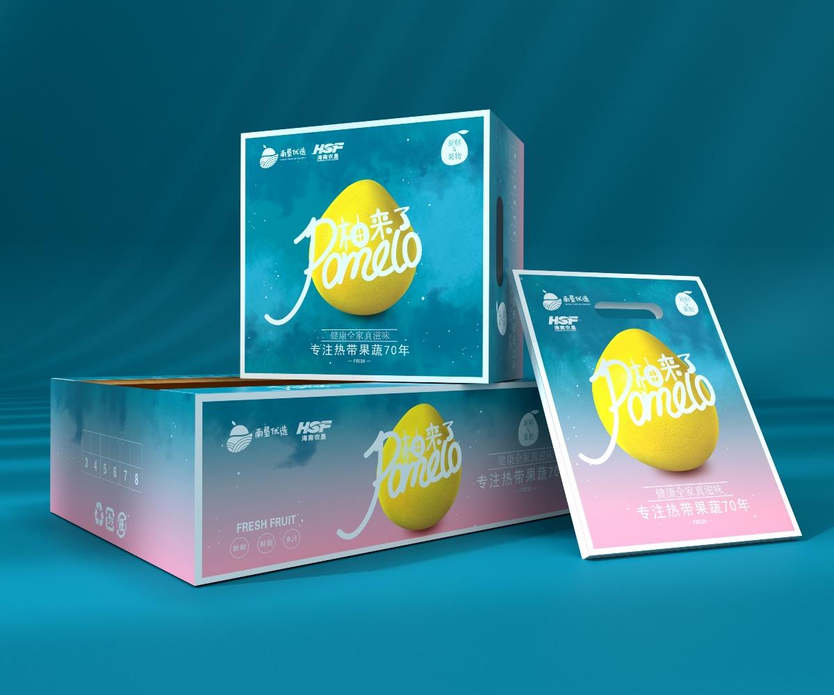 红心柚白心柚三红柚子包装、高端大气、水果通用包装盒