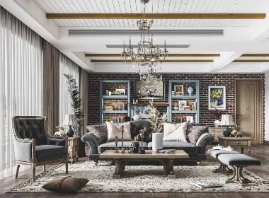 美式复古客厅