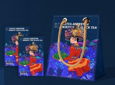"""黑森林设计茶叶包装:千年""""茶祖茶""""阿诗玛金罐松针多泡系列包装"""