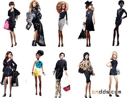 穿上设计师们设计的衣服后,芭比娃娃(barbie doll) 集体亮相拍照