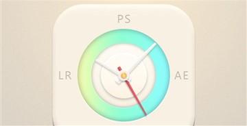 教你绘制一枚清新淡雅的时钟图标